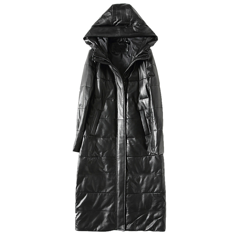 Piumino Giacca di Pelle Vera Piume D'anatra Bianca Cappotto Invernale donne Coreano Parka Con Cappuccio Long Black Slim Cappotti Plus Size ZT375