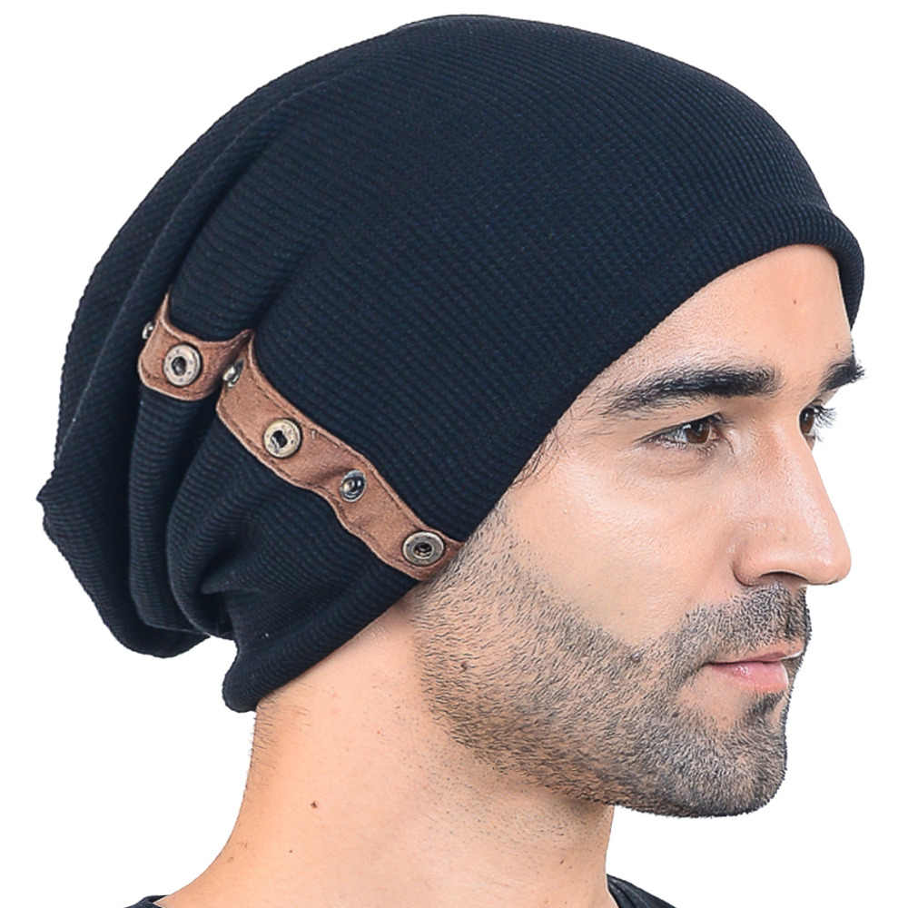 ae7c426849e HISSHE Mens Winter Cotton Slouchy Knit Beanie Cap Solid Skullcap Crochet  Oversize Hat New Fashion Outdoor