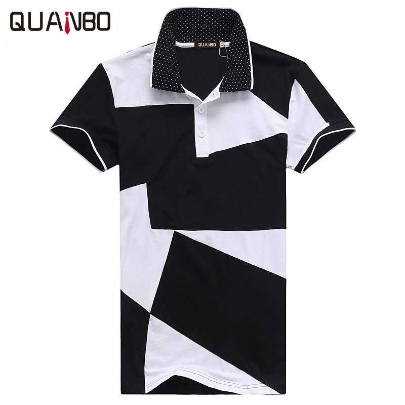 Plus szie 3XL 4XL 5XL Camisetas Hombre 2018 été nouveautés noir blanc Patchwork à manches courtes POLO homme décontracté polo