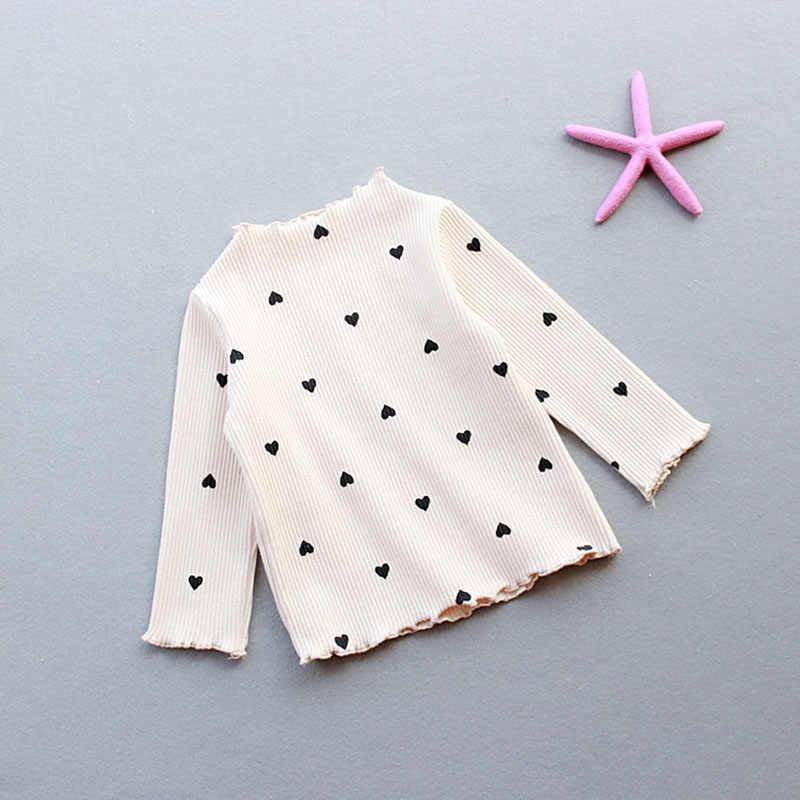 2019 新冬女の赤ちゃん長袖 O-首愛ハート底入れシャツの綿の子供の長袖恋人ハートセーター