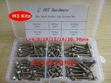 180pcs M3 Screw Kits DIN912 Allen Bolts Hex Socket Head Cap Screw Assortment Kit M3*6/8/10/12/16/20mm(China)
