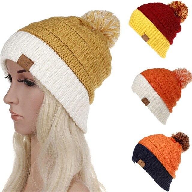 d522ca9189fa4 2019 Winter Brand Female Ball Cap Pom Poms Winter Hat For Women Girl  S Hat  Knitted Beanies Cap Hat Thick Women Skullies Beanies
