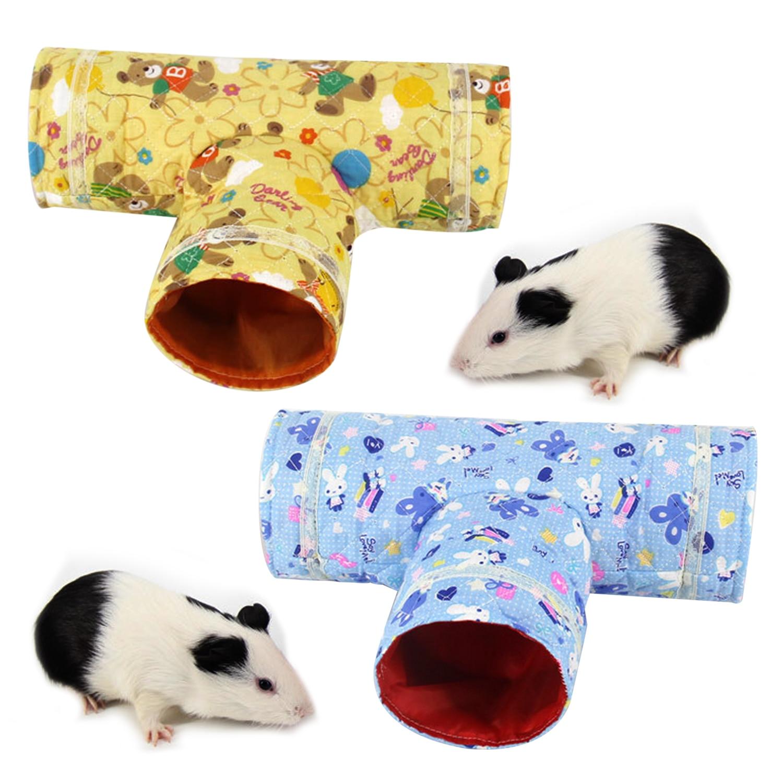 Behogar Симпатичные складной зверек 3 Way туннель ПЭТ играть игрушка для хомяка Guinea Pig шиншиллы аксессуары