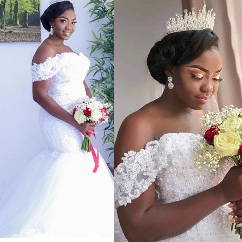 Mermaid Wedding Dress Beads Sequine Bride Dress Appliques Lace Wedding Gown V Neck off the Shoulder vestido de noiva