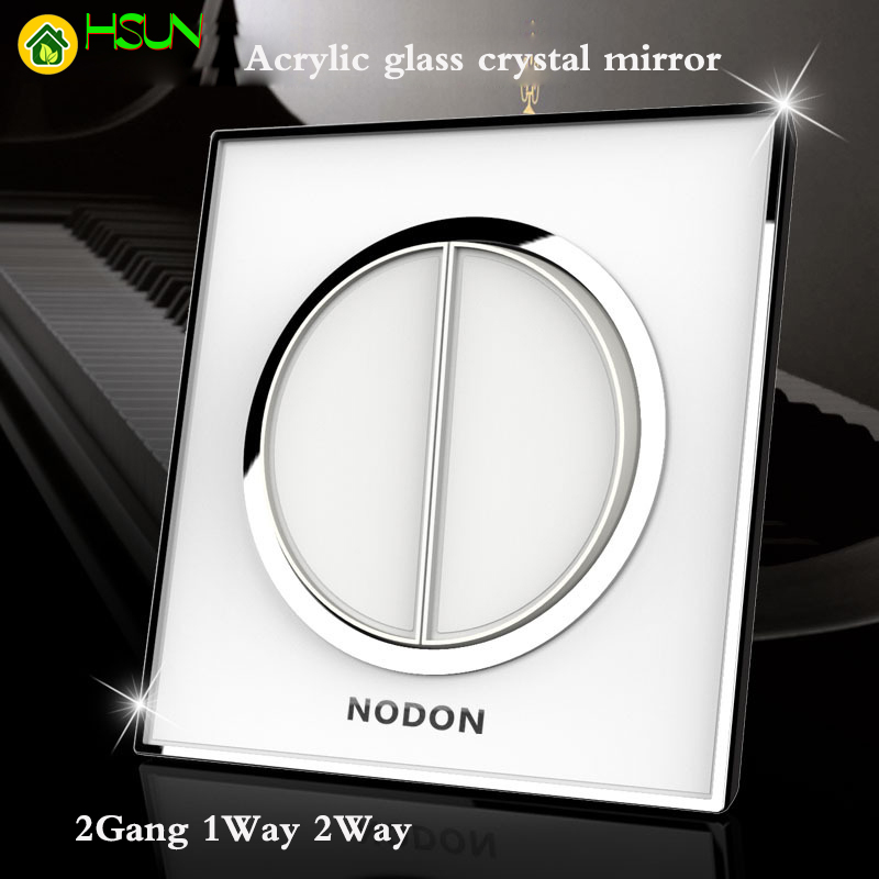 Acrylic glass crystal mirror personality switch panel 2 Gang 1 Way