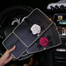 Pearl Camellia Flower Car Sun Visor Storage Bag for CD Cards