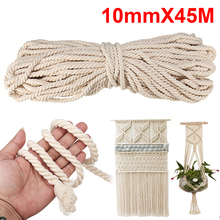 Macrame Rope Natural Beige Pure Cotton 10mm 45m Twisted Cord for Handmade Enthusiasts for Artisan DIY Hand Craft Cords