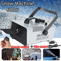 110V/220V 600W Mini Flurry Snow Machine Stage Effect + Wired Remote for Holiday Stage Snowmaker Spray Snow Soap Foam Machine
