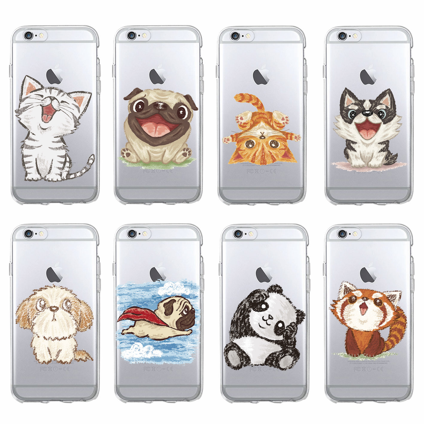 Cute Cat Panda Puppy Dog Bulldog Bear Cartoon Soft Phone Case Fundas Coque For iPhone 7 7Plus 6 6S 6Plus 8 8Plus X SAMSUNG