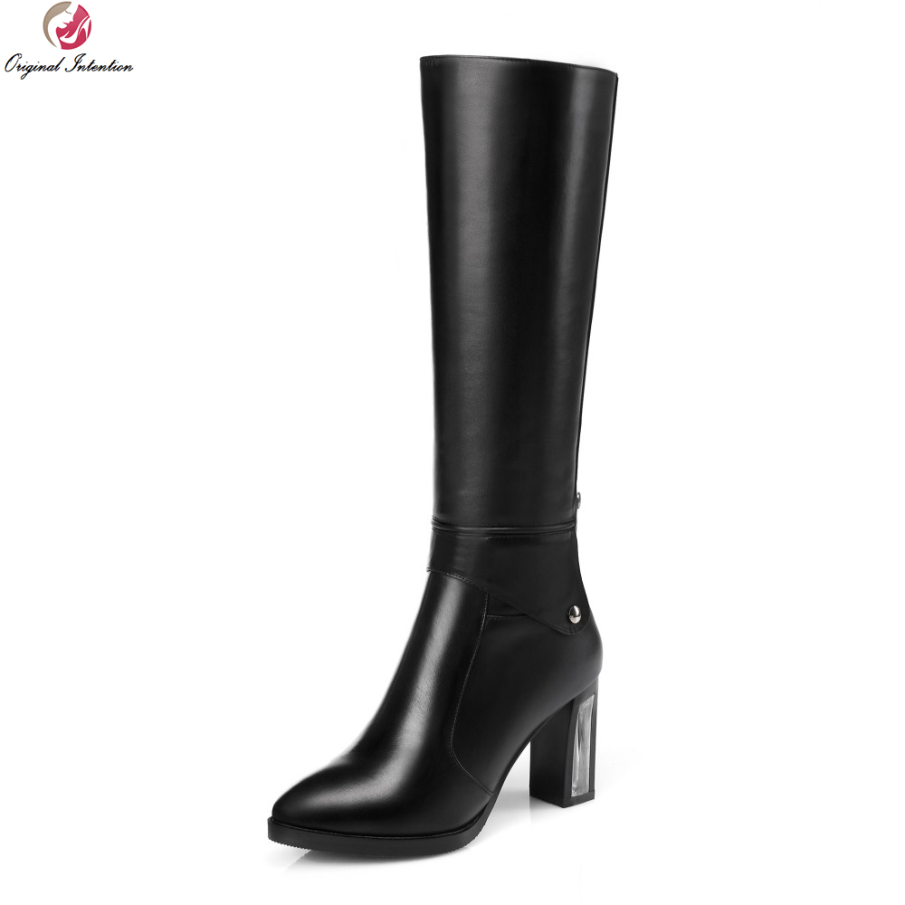 Original Intention New Fashion Women Knee-High Boots Round Toe Square Heels Boots Popular Black Shoes Woman US Size 4-13 original intention nice fashion women knee high boots round toe square heels boots beautiful black shoes woman us size 3 5 13