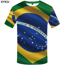 KYKU marca brasileña bandera camiseta bandera brasileña camiseta 3d camiseta femme camisa estilos hombres camiseta divertida ropa para hombre