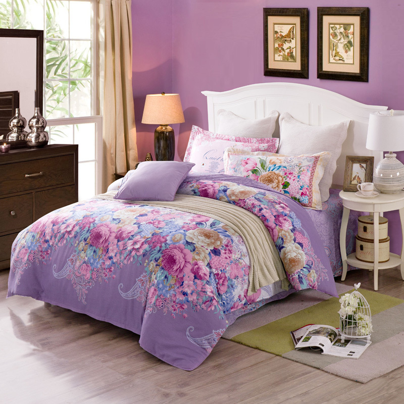 blossoming Flowers pattern light purple Bedding set floral print linens 100 Cotton duvet cover bed sheet