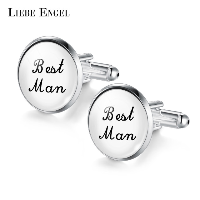 LIEBE ENGEL Silver Color Brand Cuff Links Wedding Cufflinks Men ...