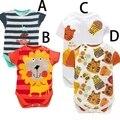 2015 новорожденных детская одежда baby boy боди Купальник Треугольник пакет хип комбинезон Четыре вида животных печати Купальник