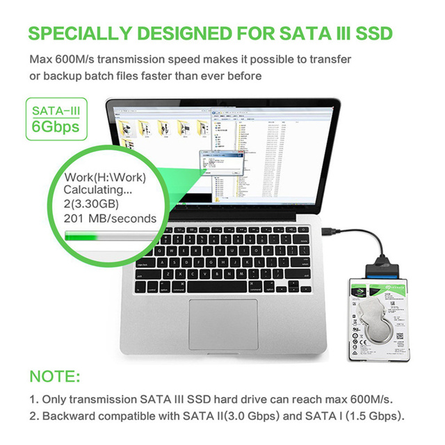 NEW USB 3.0 SATA 3 Cable Sata to USB Adapter Up to 6 Gbps Support 2.5 Inches External SSD HDD Hard Drive 22 Pin Sata III Cable 5
