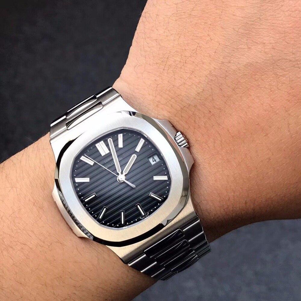 Noir Top marque de luxe Mens Montre En Acier Inoxydable Montre à quartz 30 m étanche Sport Montre Designer Montre-Bracelet pour hommes dropship