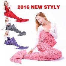 Niuniu Daddy New knitted Mermaid Tail blanket handmade crochet mermaid blanket adult throw bed Wrap super soft sleeping bag