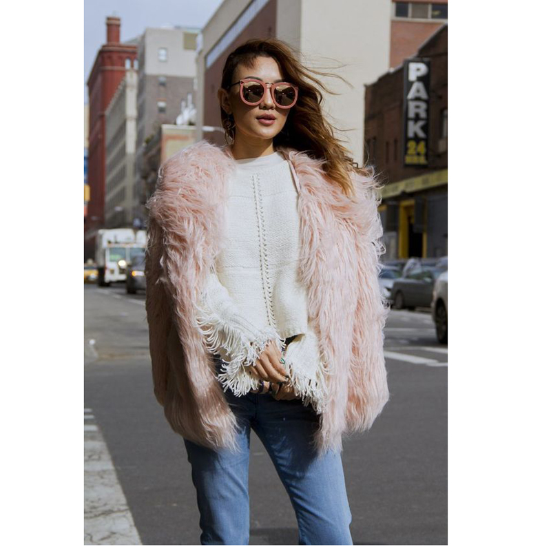 plus size 4xl 5xl 6xl 7xl winter women faux fur coat pink overcoat