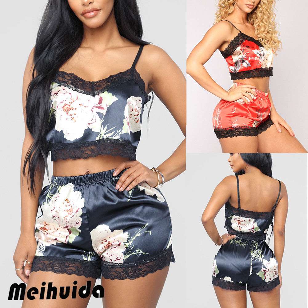 Women Sexy Satin Lace Sleepwear Babydoll Lingerie Nightdress Pajamas Set Sleeveless Top+Shorts Flower Print 2Pcs