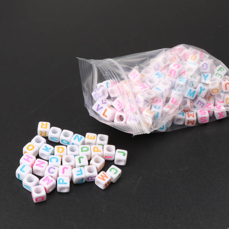 Jewelry & Accessories Humorous Mrhuang 6mm 500pcs Mixed Color Letter Alphabet Cube Acrylic Neon Beads For Jewelry Making Diy