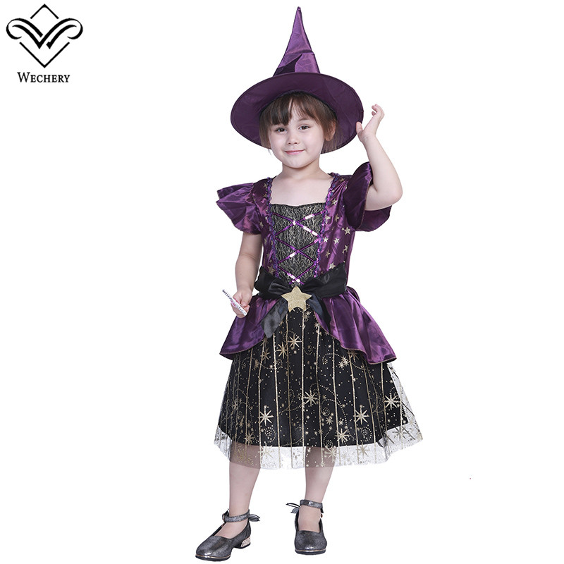 Wechery Kids Cosplay Costume Star Pattern Witch Dress for Girls Cute Purple Black Lace Up Shinny Costumes Set Plus Size