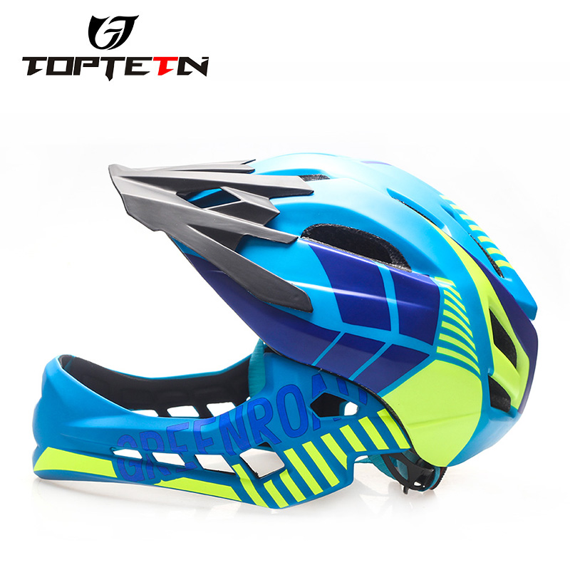 2 10 Year Old Full Covered Kid Helmet Balance Bike Children Full Face Helmet Cycling Motocross Downhill MTV DH Safety Helmet BMX