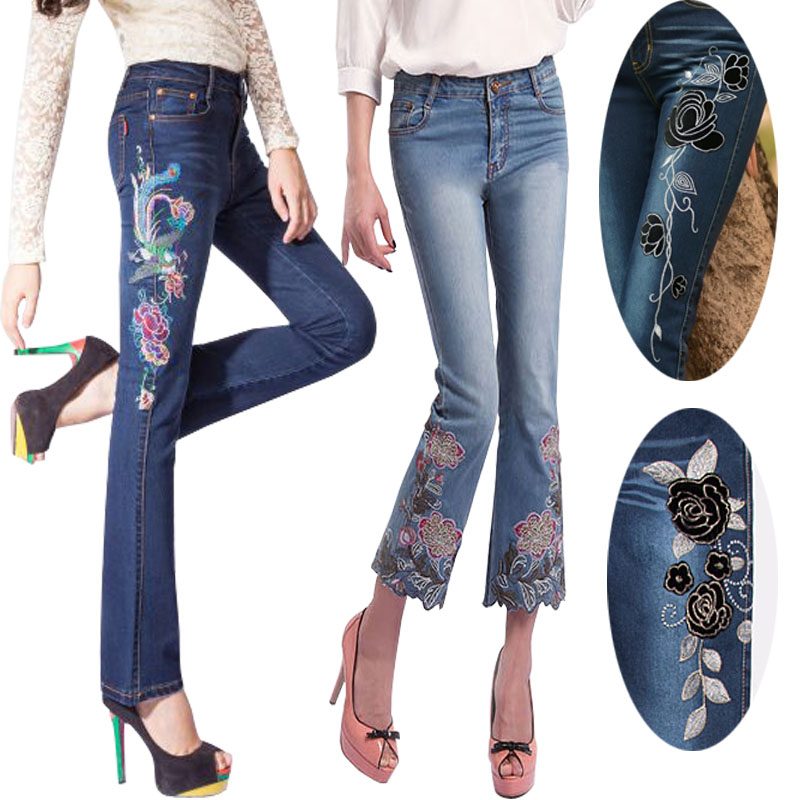 Free Shipping 2017 Fashion Long Pants For Women Embroidery Flower Trousers Plus Size Denim Flare Jeans Chinese Style XXXL Summer