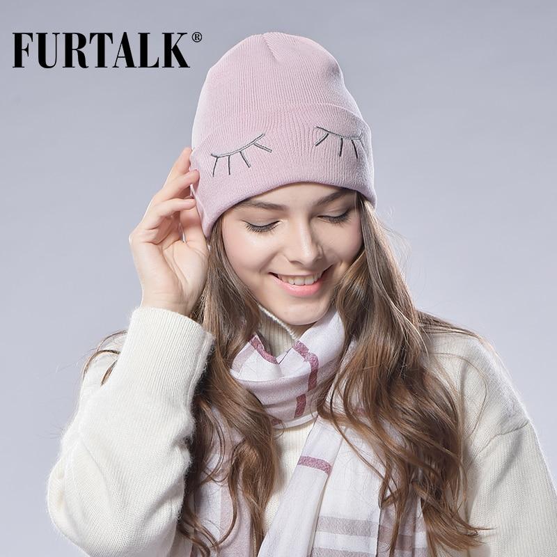 a50f6663bb2 FURTALK Spring Autumn Woman Wool Cotton Cuff Beanie Knit Hat Ski Watch Cap  -in Skullies   Beanies from Apparel Accessories on Aliexpress.com