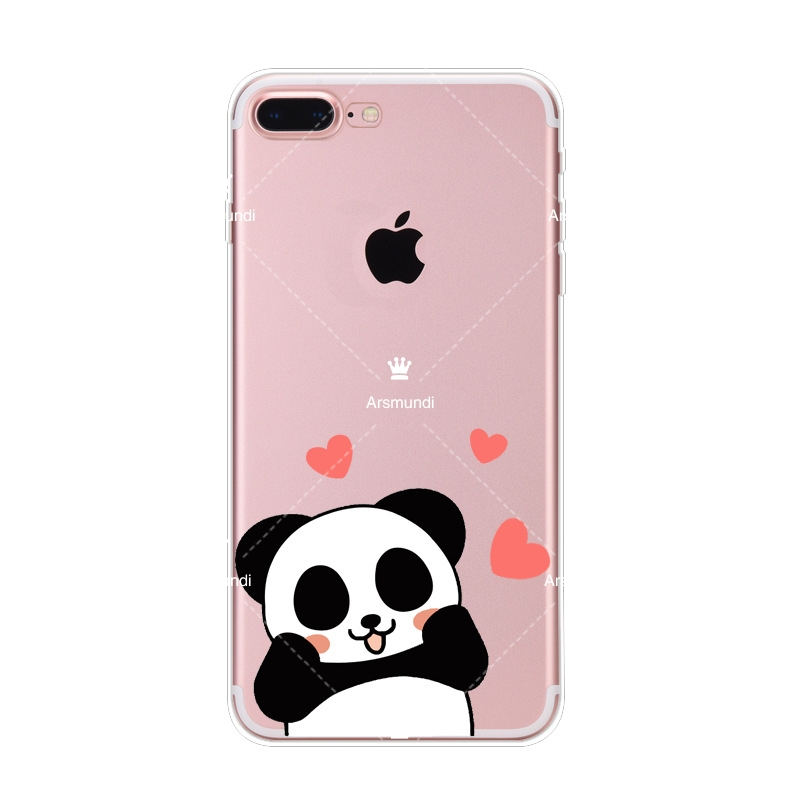 2018 Panda Bamboo Heart Phone Cases For Iphone 4 5C 5S 6 6S 7 8 Plus X For Oppo Case Crystal Clear Soft TPU Cover Cases