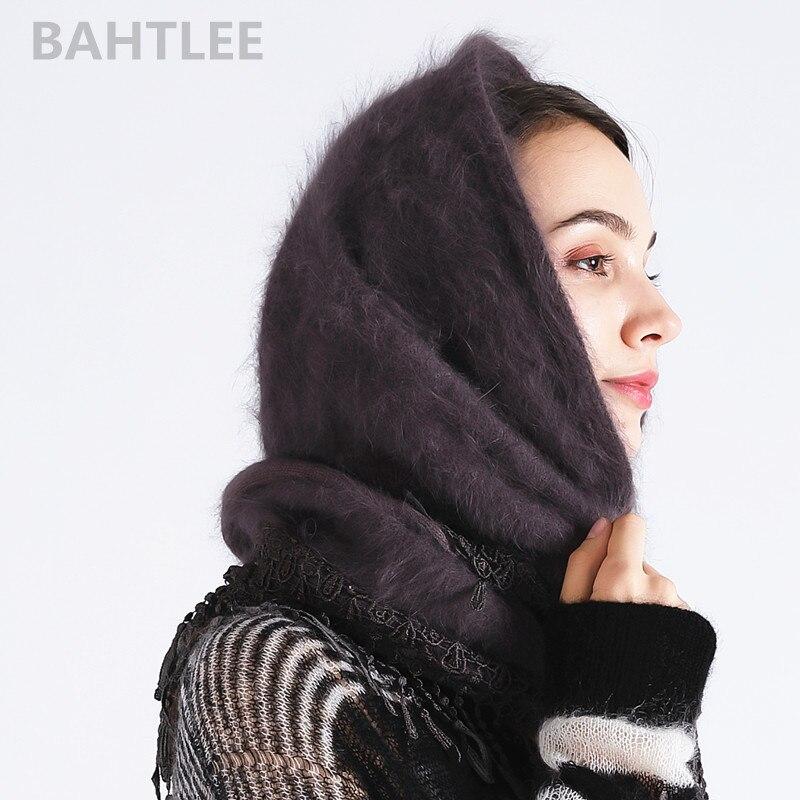 Image 3 - BAHTLEE 2018 hiver musulman femmes angora lapin turban hijab  écharpe Poncho triangulaire châle tricoté vraie fourrure enroulé  capeIslamique Vêtements