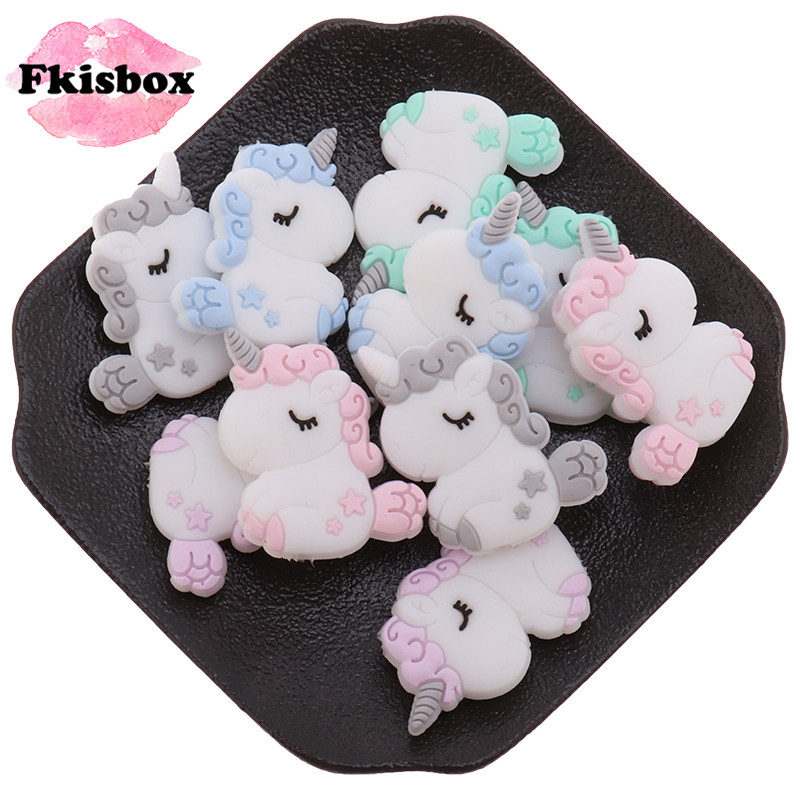 Mini 10pcs Unicorn Silicone Baby Teether Beads BPA Free Newborn Bitting Jewelry Accessories DIY Infant Teething Necklace Koala