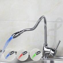 Е-пак кухонный кран Torneira новый бренд поворотный свет 360 бортике Chrome одно отверстие Смесители и краны