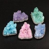New Fashion Jewelry Natural Druzy Quartz Stone Statement Irregular Pendant Necklace Valentine S Day Gifts For