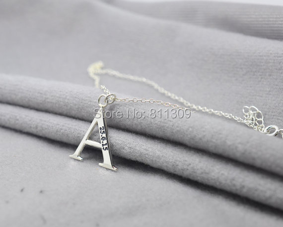 Personalized single letter necklace engraved date silver custom personalized single letter necklace engraved date silver custom initial necklace hand stamp word name aloadofball Images