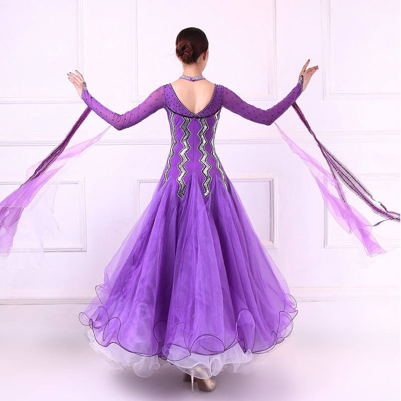 Customized new modern dance competition costumes women High quality purple ballroom dance dress Performance tango waltz dress in Ballroom from Novelty Special Use