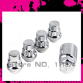 TYPE 2 Close End Wheels Lock Lug Nuts P 12X1.5 4Pcs/Set Racing Lug Nuts Silver Chrome