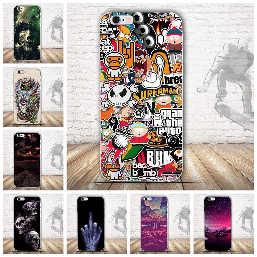 New Slim Rubber Back Cover Silicon Gel Cover Fundas for iPhone 5G 5S 6 6S Plus Cartoon Phone Cases Protective Case for iPhone SE