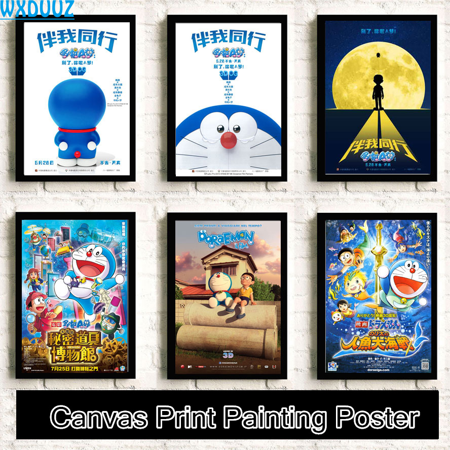 Doraemon Walk with me Cartoon Painting Kids Room HD Movie Reying Home Decor Art Decor posters canvas painting No Frame K33 image