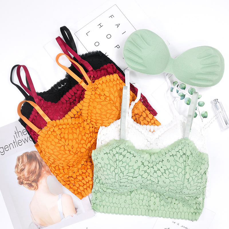 Lace Tube Top Women Bra Sling Wrapped Chest Female Cropped Underwear Summer Tanks Camis Top