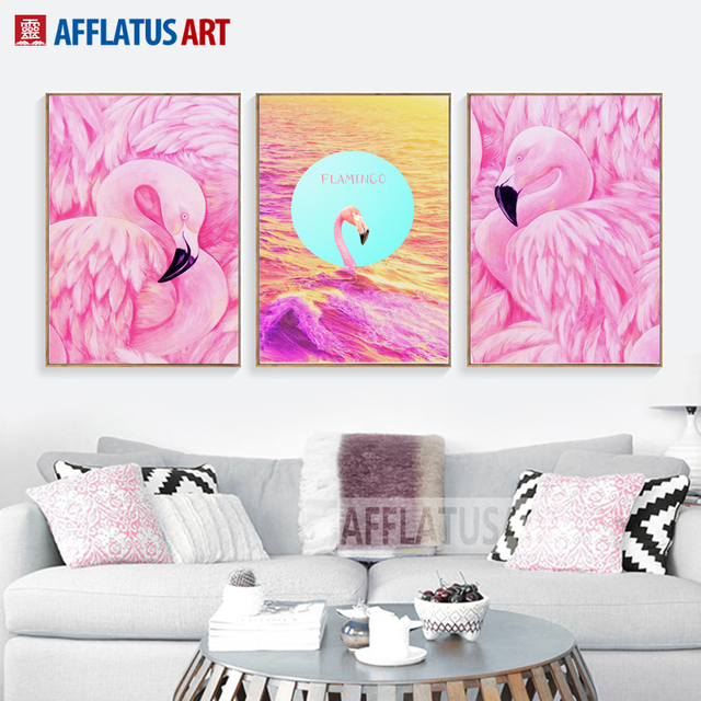 Pink Flamingo Posters And Prints Wall Art Canvas Painting Nordic ...