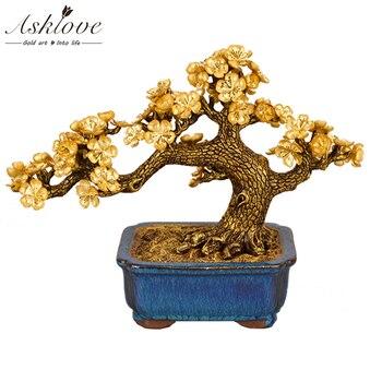 Macetas Decorativas | Feng Shui Ciruela Flor árbol Planta Artificial De Bonsái Adornos De Lámina De Oro Falso Tetera Dorada Adornos De Plantas Decoración Para El Hogar Artesanías Regalos
