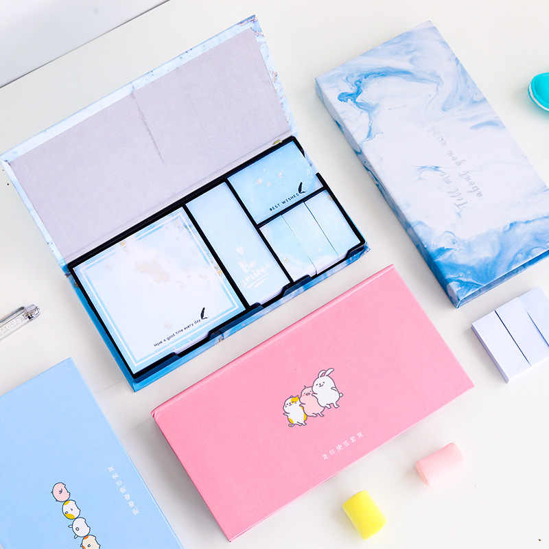 Kawaii Sticky Note Set Leuke Cartoon Post Het Notebook Student Creatieve Boxed Memo Pad