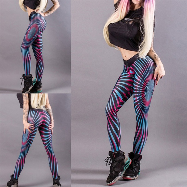Women Thin Colorful Printed Compression Running Tights Yoga Workout Pants  Sports Athletic Clothes Fitness Leggings fe03ea965373