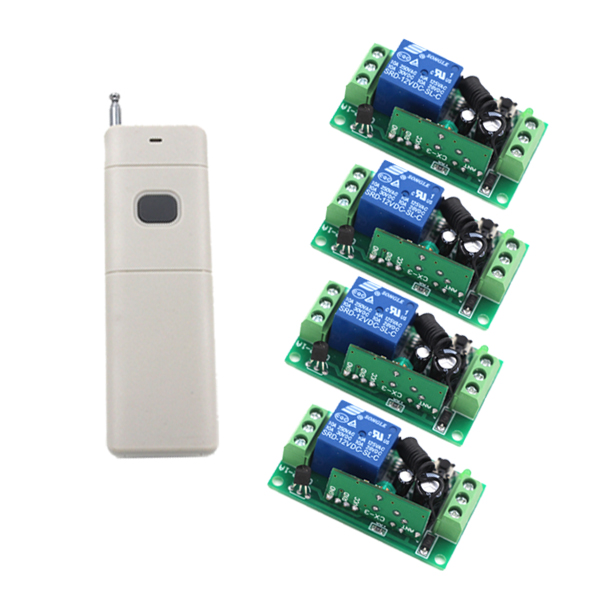 New RF Wireless Remote Control System Teleswitch 4 Transmitter and 1 Receiver Universal Remote Control DC9V/12V/24V Top Quality new dc24v 4ch rf wireless remote control system teleswitch 3 transmitter and 1 receiver universal gate remote control 315 433mhz