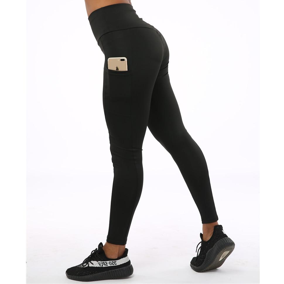SVOKOR High Waist Polyester   Leggings   Women Pocket Slim Fit Ankle-Length Pants Breathable Elasticity Fitness Female   Legging