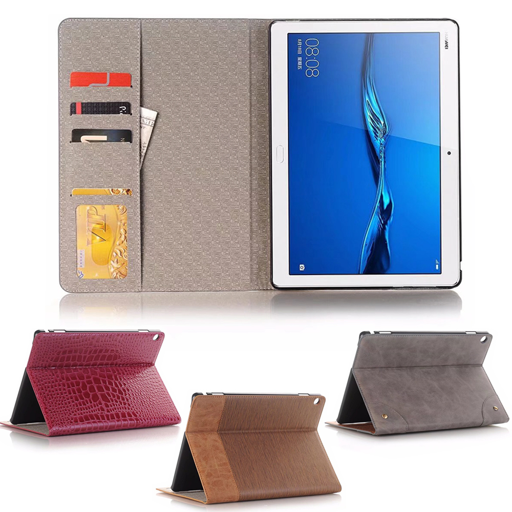 Business Leather Case For Huawei Mediapad M3 Lite 10 BAH-W09 BAH-AL00 10.1 Inch Tablet Support Stand Cover With Card Solt + Gift