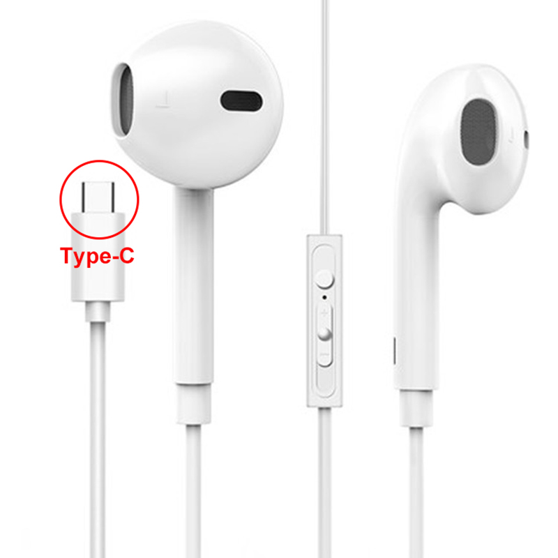 Type-c Earphones Wired In-ear Noise Cancelling Ear Hook Stereo Headset Fone De Ouvido Super Bass With Microphone For Xiaomi New original kz rx earphones 3 5mm in ear fone de ouvido super bass earbuds noise cancelling in ear phones for smartphones