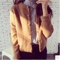 Outono nova primavera de madeira fivela cor Sólida casuais malhas cardigan grosso suéter de lã feminino malha S708