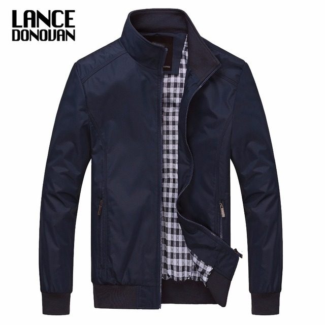 Сплошной цвет Новый 2017 повседневная куртка M-5XL 6xl Для мужчин Осенне-весенняя верхняя одежда мандарин одежда с воротником