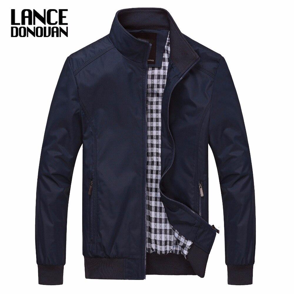 Color sólido Nuevo 2017 chaqueta Casual M-5XL 6XL hombres primavera otoño ropa de abrigo cuello mandarín